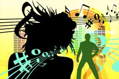 Digital illustration of dancing human silhouettes on a background with musical notes. A digital illustration of dancing human silhouettes on a background with