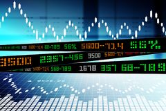 Data analyzing in stock market. Digital illustration of Data analyzing in stock market in color background Stock Images