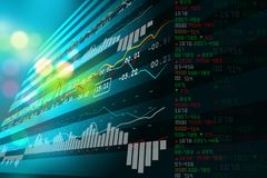 Data analyzing in stock market. Digital illustration of Data analyzing in stock market in color background Royalty Free Stock Photos