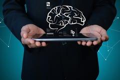 Digital-Illustration des Geschäftsmannes und des menschlichen Gehirns Lizenzfreie Stockbilder