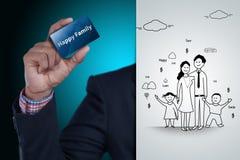 Digital-Illustration des glücklichen Familienkonzeptes Stockfotografie