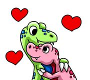 Two Dinosaur in True Love. Digital illustration of dinosaurs in love Stock Photo