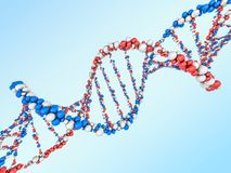 Digital illustration of a DNA model on science background. 3D. Rendering Royalty Free Stock Photography