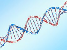 Digital illustration of a DNA model on science background. 3D. Rendering Royalty Free Stock Photo