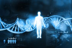 DNA molecules and men. Digital illustration of DNA molecules and men stock illustration