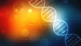 Digital Illustration of DNA structure, abstract medical background. 2d render of dna structure, abstract medical background royalty free illustration