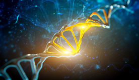 Digital illustration DNA structure in blue background. 3d render illustration DNA structure in blue background Stock Photography