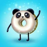 Digital illustration of Donut panda waving his paw vector illustration