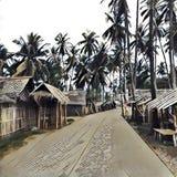 Digital-Illustration, Dorf im Dschungel Holzhaus mit Blattdach und hoher CocoPalme Lizenzfreie Stockbilder