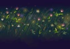 Digital illustration för neonträdgårdblad Grön och cyan blom- abstraktion Mall för sommarblomsterrabattbaner brigham arkivfoto