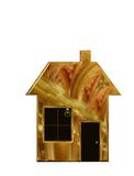 Digital Illustration of a Family House made of Gold. Royalty Free Stock Photo