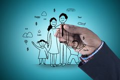 Digital illustration of family planning concept. In color background Royalty Free Stock Images