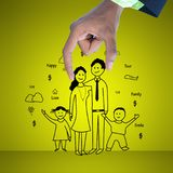 Digital illustration of family planning concept. In color background Stock Photo