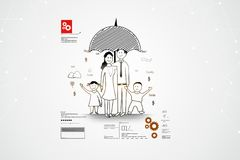 Digital illustration of Family safety concept. In color background Stock Photos