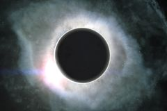 Digital Illustration of a Fantasy Eclipse stock illustration