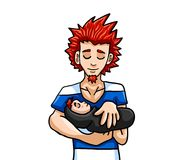 Spiky Red Haired Father Holding His Newborn Son stock illustration