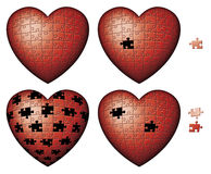Red Puzzle Hearts. Digital illustration of four heart shaped puzzles Stock Photos