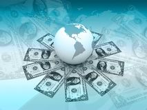 Digital illustration of globe and dollar Stock Images