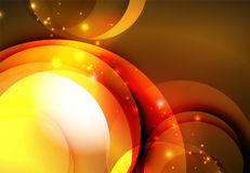 Digital illustration, glowing waves and circles Stock Photography