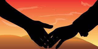 Digital hands of lovers vectors holding hands pictures. This is digital illustration - hands of lovers vectors holding hands pictures. The figure symbolizes the Stock Images