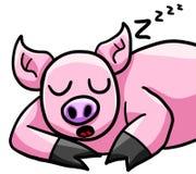 Happy Sleeping Pig stock illustration