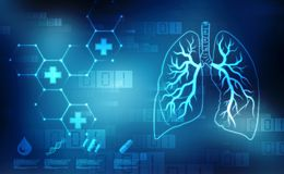 Digital illustration of Healthy Human lungs on scientific background. 2d illustration of Healthy Human lungs on scientific background. Medical technology stock illustration