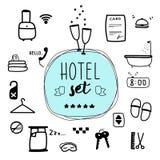 Digital-Illustration, Hotelvektorsatz Reisendes Gekritzelart stuf stock abbildung
