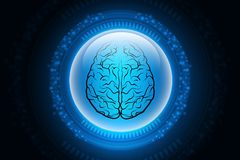 Digital illustration of Human brain structure in color background stock illustration