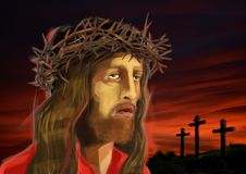 Digital illustration of Jesus Christ's face, on reddish sunset Royalty Free Stock Images