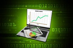 Laptop showing a spreadsheet and a paper with statistic charts. Digital illustration of Laptop showing a spreadsheet and a paper with statistic charts Royalty Free Stock Images