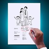 Man drawing portrait of family. Digital illustration of Man drawing portrait of family in color background stock images