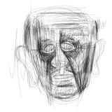 Illustration made on tablet depicting a human face. Digital illustration of a man`s face. Minimalist drawing, pencils, portraying human emotions by facial Stock Images