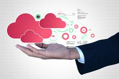 Man showing cloud technology with gear. Digital illustration of man showing cloud technology with gear Royalty Free Stock Photo