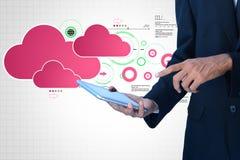 Man showing cloud technology with gear. Digital illustration of man showing cloud technology with gear Stock Photos