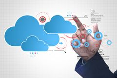 Man showing cloud technology with gear. Digital illustration of man showing cloud technology with gear Stock Photography