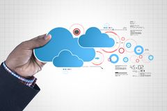 Man showing cloud technology. Digital illustration of man showing cloud technology Royalty Free Stock Images