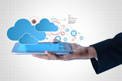 Man showing cloud technology. Digital illustration of man showing cloud technology Royalty Free Stock Image