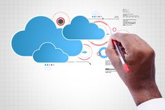 Man showing cloud technology. Digital illustration of man showing cloud technology Royalty Free Stock Photography