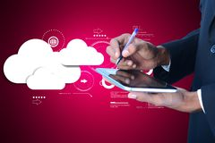 Man showing cloud technology in tablet computer. Digital illustration of man showing cloud technology in tablet computer Stock Images