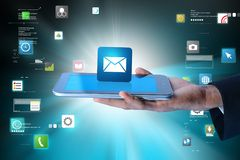Man showing  the  message icon in digital tablet Royalty Free Stock Photos