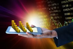 Man showing  tablet computer with financial stock market data. Digital illustration of Man showing  tablet computer with financial stock market data Royalty Free Stock Photo