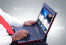 Man working on the laptop Royalty Free Stock Images