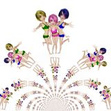 Digital Illustration of Manga Girls. Digital 3D Illustration of Manga Girls Stock Photography
