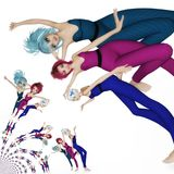 Digital Illustration of Manga Girls. Digital 3D Illustration of Manga Girls Royalty Free Stock Image