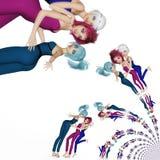 Digital Illustration of Manga Girls. Digital 3D Illustration of Manga Girls Stock Photo