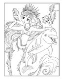 Coloring page The Mermaid stock illustration