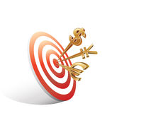 Digital illustration of money signs on target Royalty Free Stock Photos