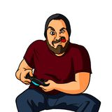 Gamer Guy with Controller. A digital illustration of a nerdy character holding a console controller concentrated on playing a video game Royalty Free Stock Photo