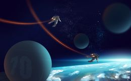 Digital illustration painting 2 astronauts fly by jetpack in out. Er space above the earth Royalty Free Stock Photography