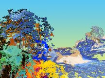 Digital painting texture colorful of big tree in deep forest. Digital illustration painting texture colorful of big tree in the deep forest with blue sky vector illustration